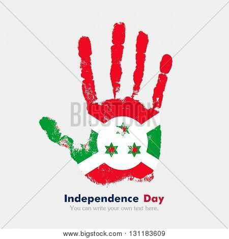 Hand print, which bears the Flag of Burundi. Independence Day. Grunge style. Grungy hand print with the flag. Hand print and five fingers. Used as an icon, card, greeting, printed materials.