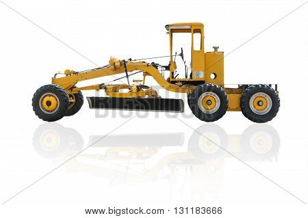 Old grader construction machinery equipment positioned on a white background This is a public in Thailand