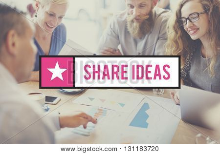Share Ideas Communication Exchange Feedback Concept