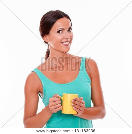 Smiling Brunette With A Coffee Mug
