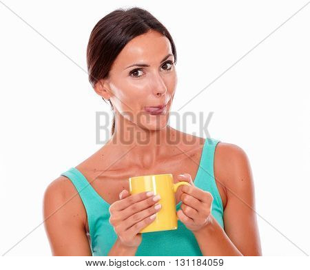 Satisfied Brunette Woman With Coffee Mug