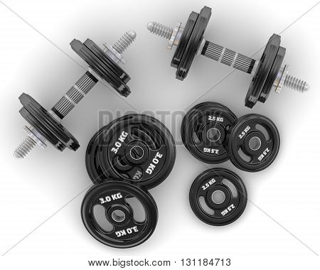 Dumbbells. Collapsible dumbbells and disks lie on a white surface. Isolated. 3D Illustration