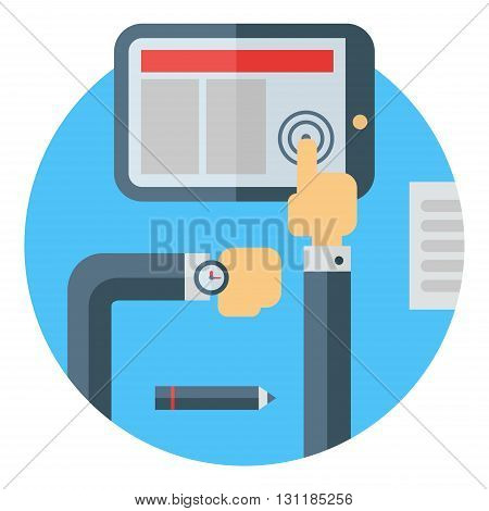 Business means of communication. Workplace. Tablet. Hands pressing the button. Check time. Colored flat vector illustration