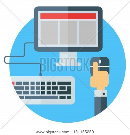 Modern means of communication. Hand pressing mouse button. Colored flat vector illustration. Computer on round blue background. Screen and keyboard. Hand pressing mouse button.