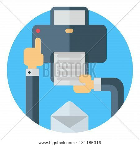 Printing a document pressing a button on printer. Hand envelope printer. Colored flat vector illustartion on round blue background