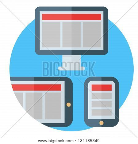 Modern means of communication. Different types of screens of various devices - PC tablet and smartphone. Colored flat vector illustration.