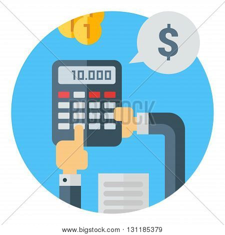 Hands holding calculator counting money. Coins dollar sign document business desk finance. Colored flat vector illustration