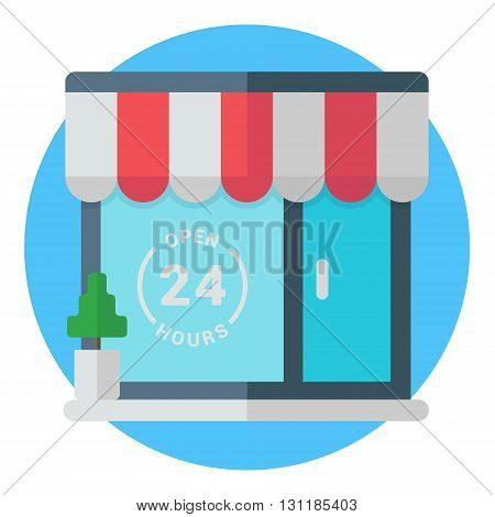 Open 24 hours storefront. Establishment cafe store shopmarket public place. Modern colored flat vector illustration