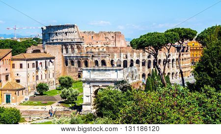 view of Coliseum fro the Roman Forum in Rome Italy