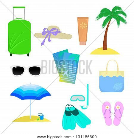 Objects that are associated with the summer vacation isolated on white background