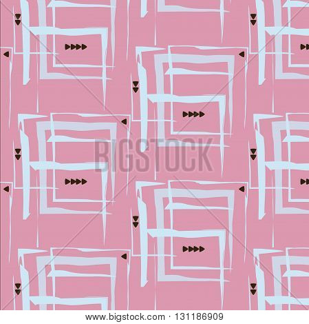 rectangle pattern triangle cover print lines blue pink