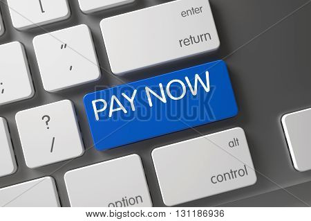 Pay Now Written on Blue Key of White Keyboard. Aluminum Keyboard Keypad Labeled Pay Now. Button Pay Now on Computer Keyboard. Pay Now on White Keyboard Background. 3D.