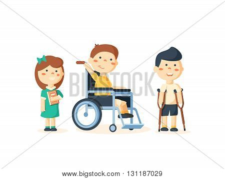 Special needs children with friends, friends and handicapped children. Vector illustration