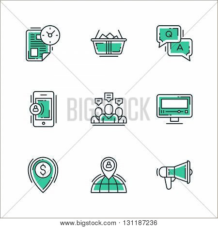Set of icons of business workflow items and elements office equipment and stuff. Colored in green isolated on white background