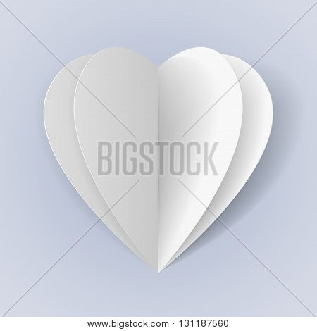 Two folded white paper hearts for romantic design