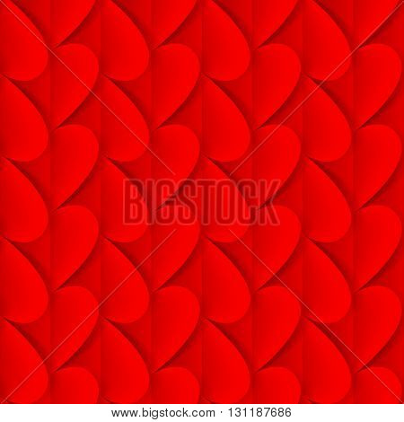 Romantic background made of folded red paper hearts