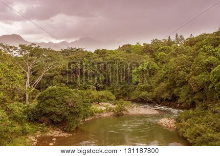 Clouds dropping over mountains of Cordillera Central and Santa Fe National Park; north of Santa Fe Panama