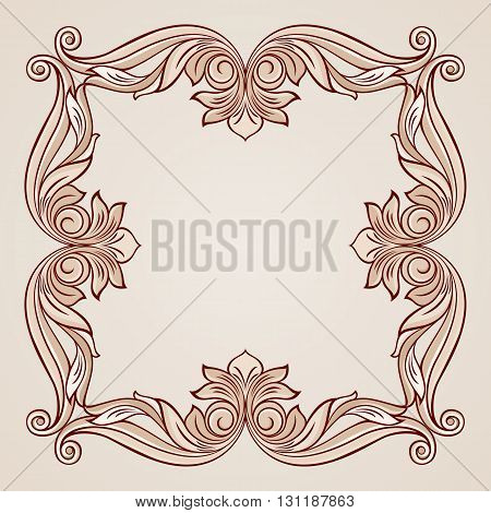 Abstract floral frame in pastel rose pink shades