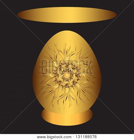Easter egg with gold pattern on gold plate with a template for an inscription on a black background. Vector illustration