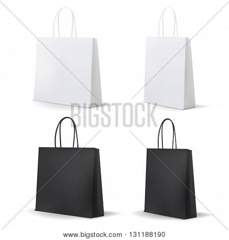 Empty Shopping Bag White and Black Set for advertising and branding. MockUp Package. Vector Illustration.