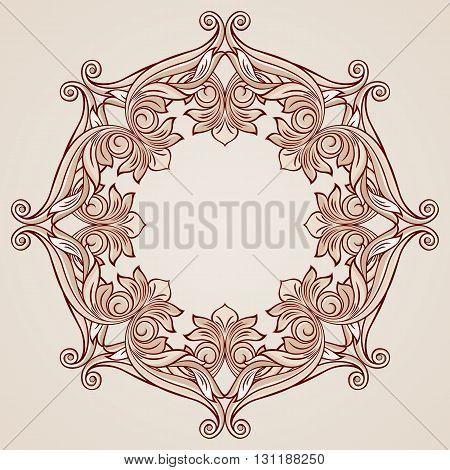 Ornate florid pattern in pastel rose pink shades