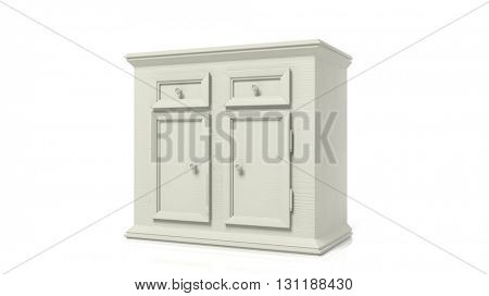 3D rendering of white wooden cupboard, on a white background
