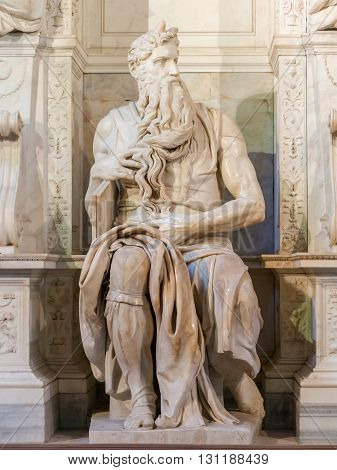 Michelangelo Moses statue in San Pietro in Vincoli church in Rome Italy
