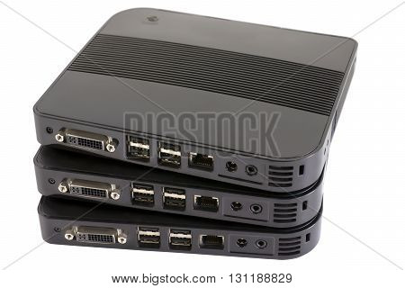 Group of noname nettop computers isolated on white with clipping path