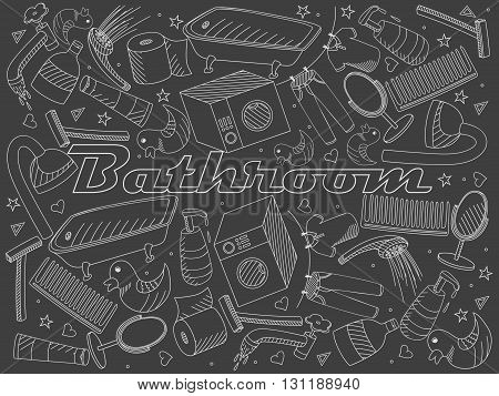 Vector line art Doodle set of cartoon characters and objects bathroom. Chalk