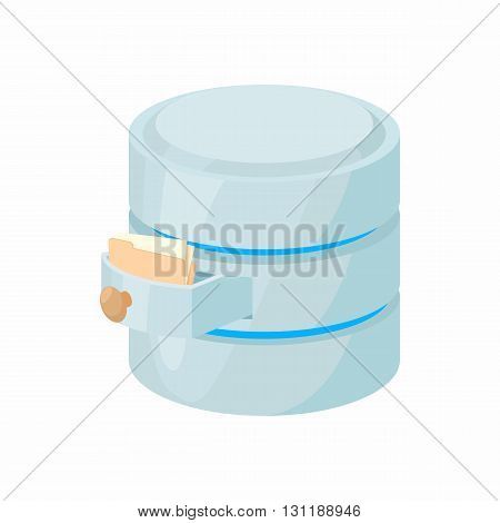 Storing files in database icon in cartoon style isolated on white background. Data storage symbol