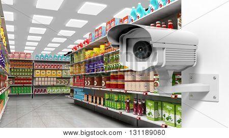 3D rendering of surveillance camera in supermarket.