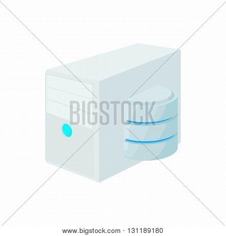 Database of computer icon in cartoon style isolated on white background. Data storage symbol