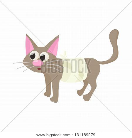 Cat with an injury icon in cartoon style isolated on white background. Veterinary care symbol