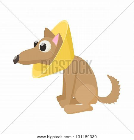 Dog in neck brace icon in cartoon style isolated on white background. Veterinary care symbol