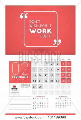 Wall Calendar Planner Print Template For 2017 Year. February 2017. Calendar Poster With Motivational