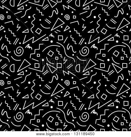 Seamless Pattern In Black And White 80S Style