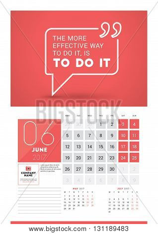 Wall Calendar Planner Print Template For 2017 Year. June 2017. Calendar Poster With Motivational Quo