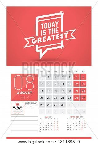 Wall Calendar Planner Print Template For 2017 Year. August 2017. Calendar Poster With Motivational Q