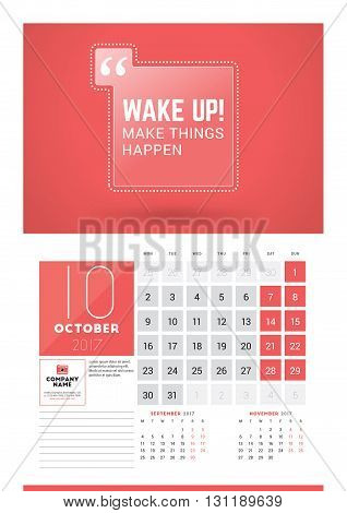 Wall Calendar Planner Print Template For 2017 Year. October 2017. Calendar Poster With Motivational