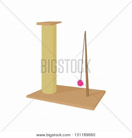 Cat scratching post icon in cartoon style isolated on white background. Convenience and entertainment for animals symbol