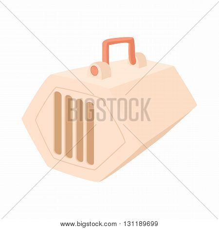 Portable cage for pets icon in cartoon style isolated on white background. Transportation of animals symbol