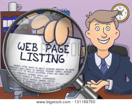 Web Page Listing through Magnifying Glass. Business Man Holding a Paper with Concept. Closeup View. Colored Doodle Illustration.