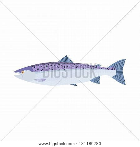 Fish trout icon in cartoon style isolated on white background. Sea and ocean symbol