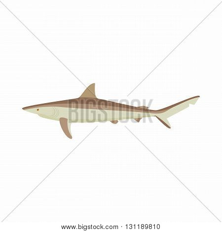 Shark icon in cartoon style isolated on white background. Sea and ocean symbol