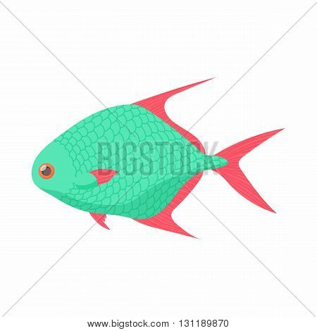 Tropical fish icon in cartoon style isolated on white background. Sea and ocean symbol