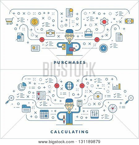 Purchases. Calculating. Flat line icons and businessman cartoon character. Business concept. Vector thin line illustration for website banner template or header