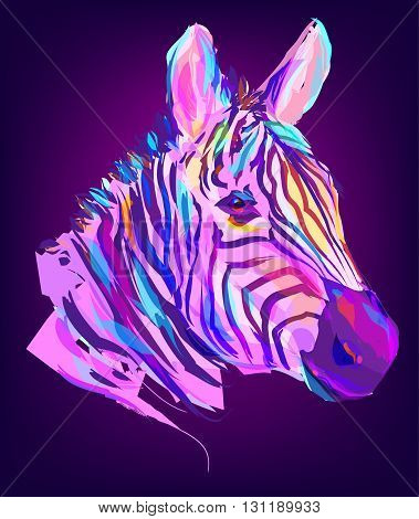 The zebra head on black background. Retro design graphic element. This is illustration ideal for a mascot and tattoo or T-shirt graphic. Stock illustration