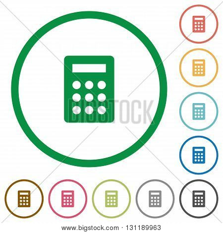 Set of calculator color round outlined flat icons on white background