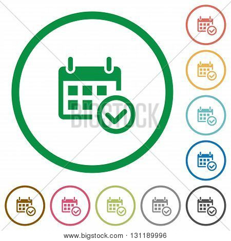 Set of Calendar check color round outlined flat icons on white background