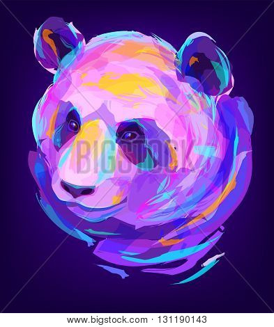 The panda head on black background. Retro design graphic element. This is illustration ideal for a mascot and tattoo or T-shirt graphic. Stock illustration